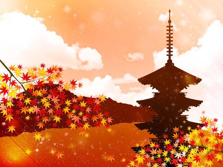 kyoto: Maple Kyoto paesaggio Vettoriali