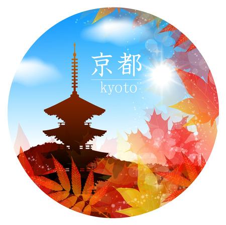 kyoto: Kyoto cornice acero Vettoriali