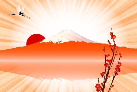 new year s card:  Fuji sunrise New Year s card Illustration