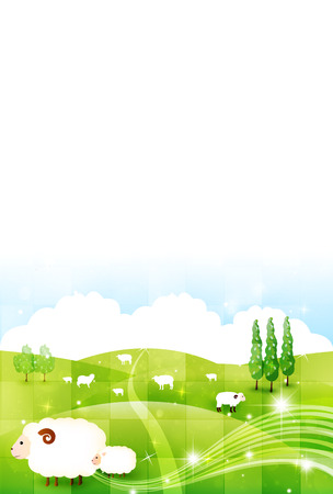 plateau:  Sheep greeting cards background