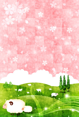 grasslands:  Sheep greeting cards background
