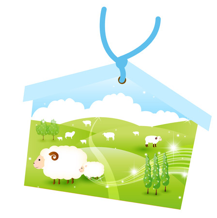 ema: Ema sheep greeting cards Illustration