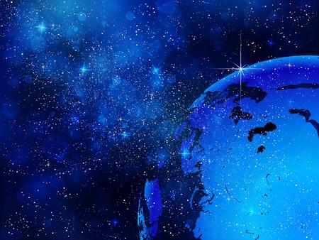 地球と宇宙の背景  イラスト・ベクター素材