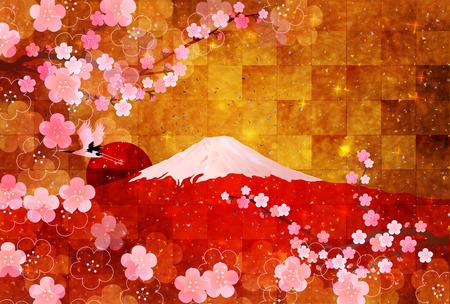 Fuji plum background Illustration