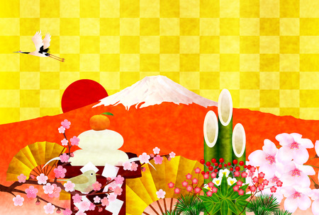 kadomatsu: Fuji greeting cards background Stock Photo