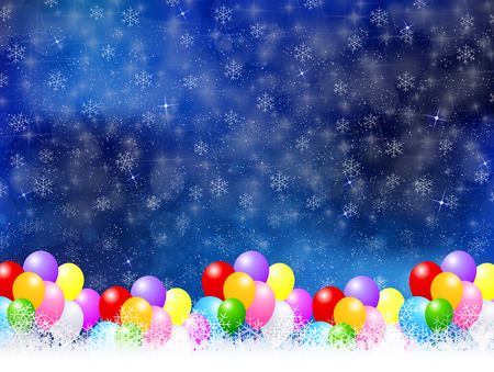 Balloons snow background Vector