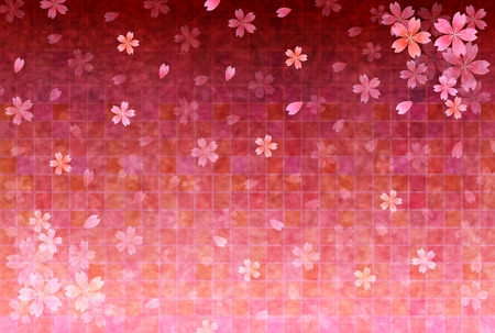 桜の花のグリーティング カードの背景  イラスト・ベクター素材