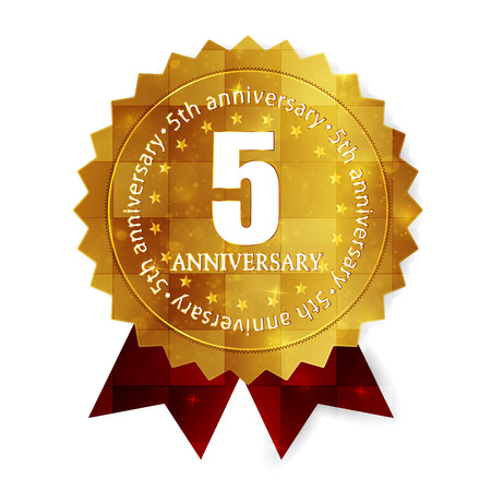 Fifth anniversary medal frame Vector