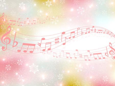音楽の雪の背景