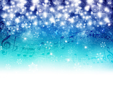 christmas music: Music snow background