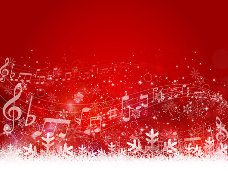 christmas music: Note snow background