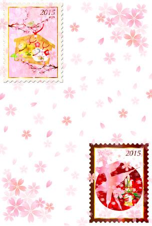 ema: Sheep background greeting cards Illustration