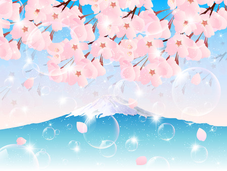 Cherry blossom with mount Fuji background Vector