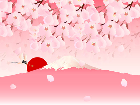 Cherry blossom with mount Fuji background Illustration