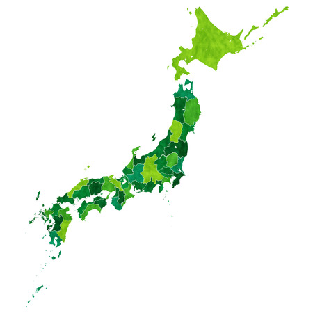 Japan map prefectures Vector