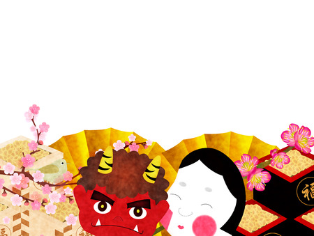 Setsubun demon background Vector