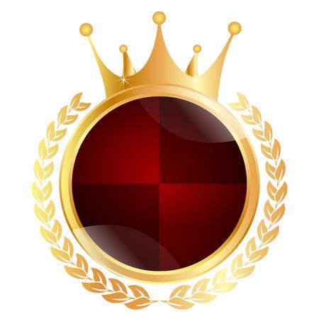 king crown laurel icon round: Crown medal frame Illustration