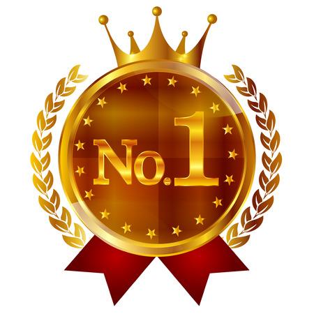 king crown laurel icon round: Crown medal 1