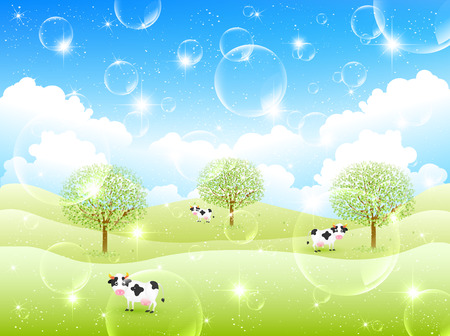 Cattle ranch background Vector