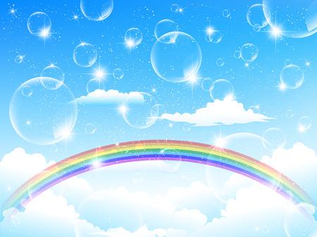 rainbow sky: Sky rainbow background Illustration