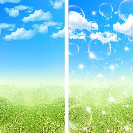 grasslands: Fresh green sky background Stock Photo