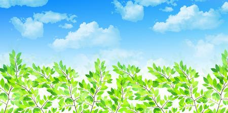 early summer: Leaf fresh green background Illustration