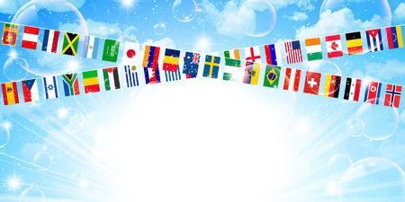 meet: Flags athletic meet sky Illustration
