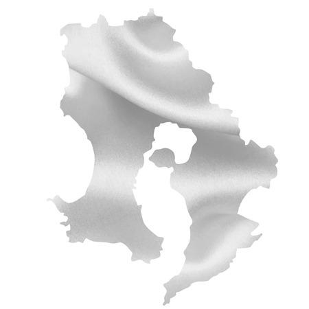 silver silk: Kagoshima map Silk Illustration