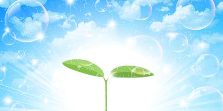 葉の芽の背景  イラスト・ベクター素材