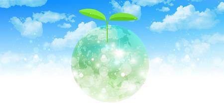 지구 배경 잎