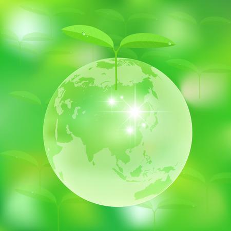地球の葉エコ  イラスト・ベクター素材
