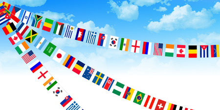 meet: Flags athletic meet background Illustration
