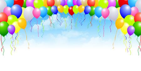 Sky balloons background Ilustrace