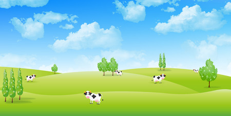 cattle: Ranch cattle background Illustration