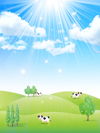 ranch: Ranch cattle background Illustration