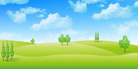 Grassland landscape background  イラスト・ベクター素材