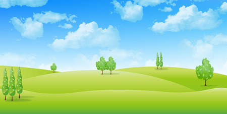 blue and green: Grassland landscape background Illustration