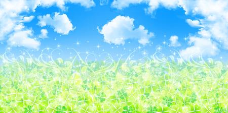 aoba: Clover grass background Illustration