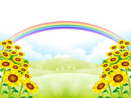 grasslands: Sunflower sky background Illustration