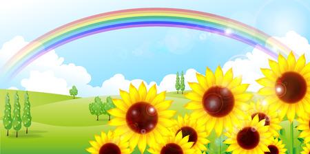 Sunflower rainbow background Vector