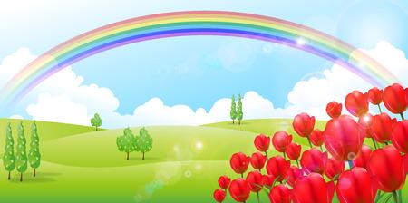tulip flower: Tulip flower background Illustration