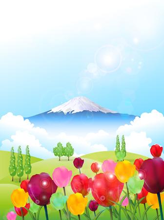 grasslands: Fuji tulip background Illustration