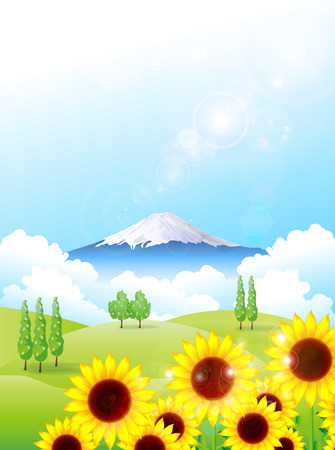 Fuji sunflower background Vector