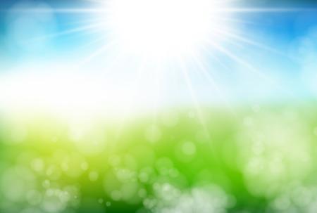 de zomer: Begin van de zomer verse groene achtergrond Stock Illustratie