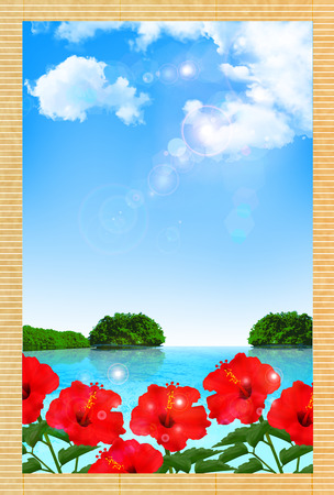 sympathy: Hibiscus summer greeting background