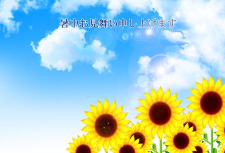 Sunflower sky summer greeting Vector