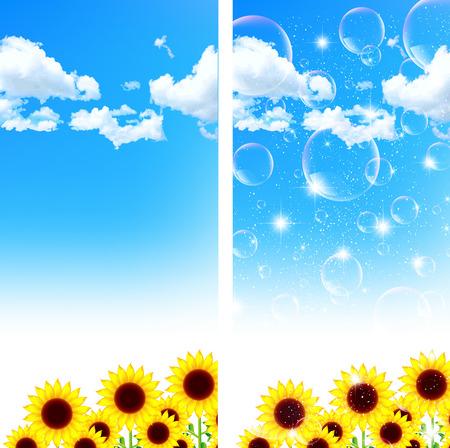 sympathy: Sunflower sky background Illustration