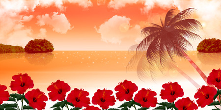 Sunset sea background Vector