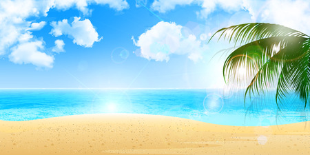 playas tropicales: Mar de fondo de palma Vectores