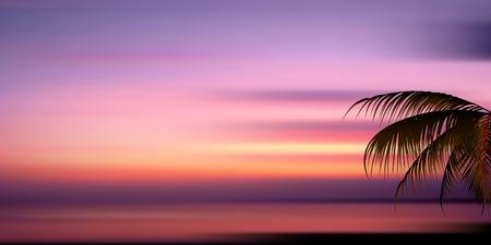 海夕日を背景  イラスト・ベクター素材